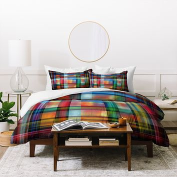 Madart Inc. Multi Abstracts Plaid Duvet Cover