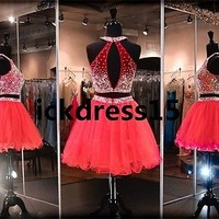 Short Two Piece Tulle Prom Dresses Cocktail Ball Evening Party Homecoming Dress