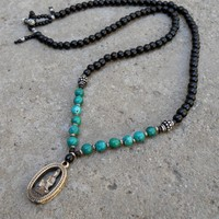 Compassion - 108 Bead Ebony and Genuine Turquoise Quan Yin Pendant Necklace