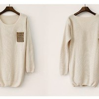 Beige Patchwork Leather Alphabet Pocket Sweater