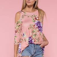 Sun Kissed Day Floral Cold Shoulder Top - Pink