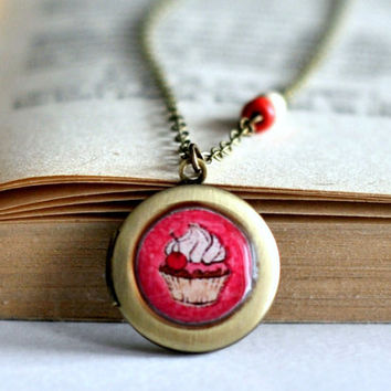 Vintage Style Cupcake Resin Locket Necklace , Pink Cupcake Locket Necklace