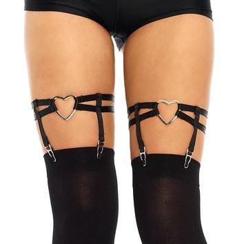 Heart Thigh High Black Garter