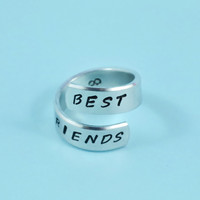 BEST FRIENDS - Hand Stamped Spiral Ring, Pure Aluminum, Shiny, Skinny Band Ring, Handwritten Font