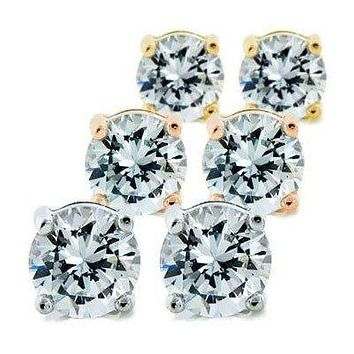 Mia 14k Gold Sterling Silver Diamond Simulated 1Ct. Stud Earrings
