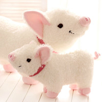 Hot sale 1pcs 35cm cartoon smile naughty pig plush doll hold pillow animal stuffed toy children birthday gift free shipping