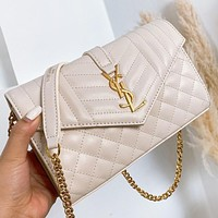 YSL New fashion leather chain shoulder bag crossbody bag Beige&white