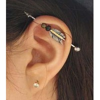 14g Arrow Feathers Industrial Barbell Scaffold Piercing