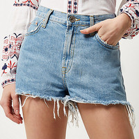 Light blue ripped high waisted denim shorts - denim shorts - shorts - women