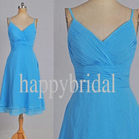 Short Blue Bridesmaid Dresses Prom Dresses Party Dresses Homecoming Dresses 2014 Custom Made