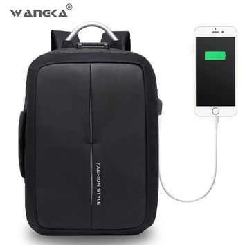 School Backpack trendy WANGKA USB Charge Anti Theft Backpack for Men 15 inch Laptop Backpacks Fashion Travel duffel School Bags Bagpack for Women AT_54_4