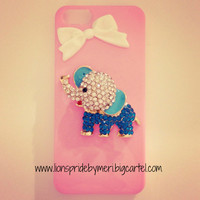 Pink Teal Elephant iPhone 5 Case