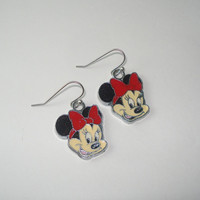 Minnie Mouse charm earrings, childrens jewelry, earrings for girls, earrings, disney earrings for girls, gift set, simple and cute