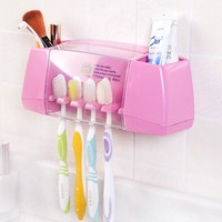 Hot Sale multifunctional toothbrush holder storage box bathroom accessories suction hooks tooth brush holder