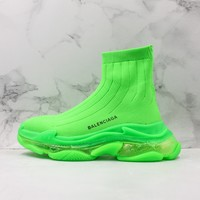 Balenciaga Green Knit Sock Sneakers With Clear Sole - Best Online Sale