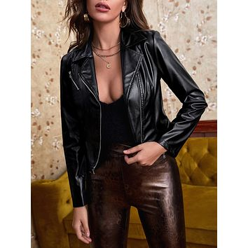 PU Leather Lapel Collar Biker Jacket