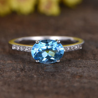 1.2 Carat Oval Sky Blue Topaz Engagement Ring With Diamond 14k White Gold Unique E-W Direction