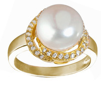 Goldplated Silver Freshwater Pearl and White Cubic Zirconia Ring | Overstock.com Shopping - The Best Deals on Pearl Rings
