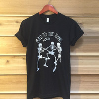 Rad to the Bone Skeletons 70s Retro Tee