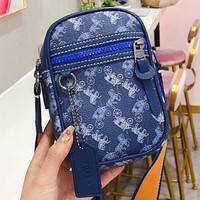 COACH Fashion New Horse Car Print Leather Shoulder Bag Crossbody Bag Blue