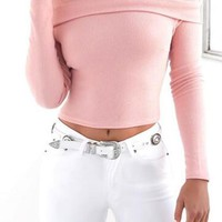 Pink Plain Crop Boat Neck Fashion Polyester Pullover Sweater