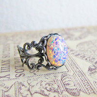 Fire Opal Ring Christmas Gift Jewelry Under 30 25 Pink Silver Gold Antique Brass LOTR Gothic Arwen Best Friends Girlfriend Statement Ring