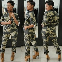 2018 Camouflage Printed Jumpsuit Women Autumn Roll up Half Sleeve Pockets Button Casual Camo Overalls One Piece Jumpsuit Rompers