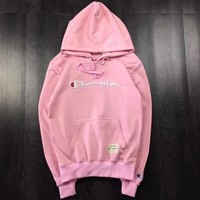 Champion Autumn Winter Hoodie Letter Embroidered Trending Women Men Casual Pullover Couple Sweater Top Pink