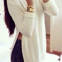 Sexy Split Round Neck Long-Sleeved Sweater