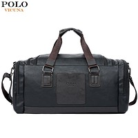 VICUNA POLO Large Capacity Men Travel Bags Simple Contrast Black Duffel Bag For Trip Casual Brand Traveling Bag For Male New