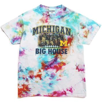 University of Michigan Big House Football Photo T-Shirt Watercolor Tie-Dye (Large)