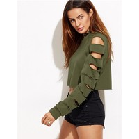 Sexy Sweatshirt Women Long Sleeve Holes Hollow Out Crop Tops Pullovers Women Short Hoodies Sweatshirts KH987549