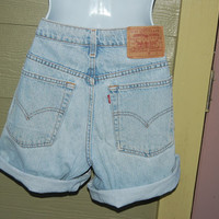 Vintage 80s 90s Levis 509 Relaxed Fit Light Wash Chambray Colored Denim High Waisted Size 9