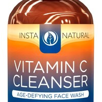 InstaNatural Vitamin C Facial Cleanser - Anti Aging, Acne & Wrinkle Reducing Face Wash for Clear & Reduced Pores - With Organic & Natural Ingredients - For Oily, Dry & Sensitive Skin - 6.7 OZ