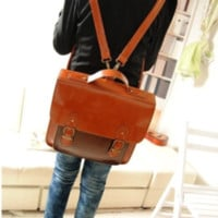 Retro Waxed PU Leather Backpack for School