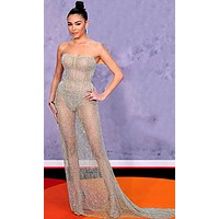 Total Diva Grey Strapless Sheer Fishnet Mesh Bodycon Maxi Dress
