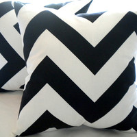 Large black and white Chevron Pillow cover 18x18