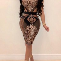 Rose Gold Sequin Grenadine Cut Out Glitter Bodycon Clubwear Party Midi Dress