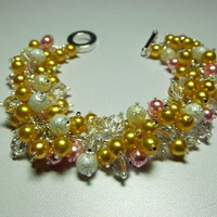 Yellow and Pink Pearl and Crystal Bracelet, Valentines Mothers Day Gift, Mom Jewelry, Chunky Bracelet, Sister Friend, Silver, Cocktail