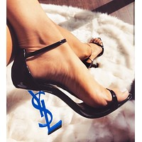 YSL Yves Saint Laurent Hot Sale Women Sexy Letter High Heels Shoes Sandals