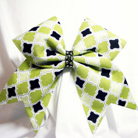 Cheer bow- all fabric green black cream with or without rhinestones- cheerleader bow, cheerleading bow, cheerbow, softball bow, dance bow