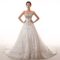 Princess beaded lace 2015 new luxury long train Wedding Dress Lace Princess Bride Wedding diamond dress = 1929356164