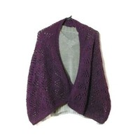 Hand Knit Plum Shimmer Shawl   Cathy Creates - Handmade knit and crochet accessories and apparel