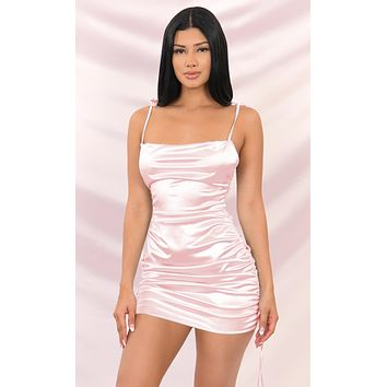 Hit The Jackpot Pink Satin Slip Sleeveless Spaghetti Strap Drape Cowl Neck Ruched Bodycon Mini Dress - 3 Colors Available