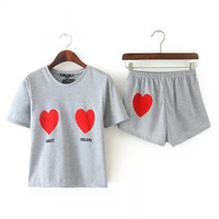 Summer Lovely Home Short Sleeve T-shirts Shorts Casual Set [4917854980]