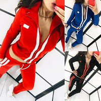Hot new fashionable splicing sports leisure suit female two-piece set