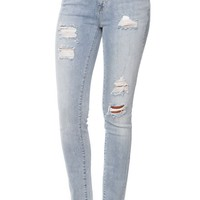 Bullhead Denim Co Low Rise Ripped Skinny Jeans - Womens Jeans - Blue