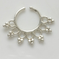 Beautiful Detailed Silver Septum For Non Pierced Nose - Nose jewelry - Septum Jewelry - Indian Nose Ring - Ethnic Septum - Septum Piercing