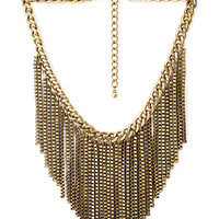 FOREVER 21 Venetian Chain Fringe Necklace Burnished Gold One