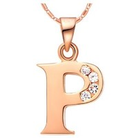 18K Rose Gold Plated Alphabet Initial Letter P Pendant Necklace